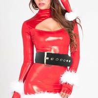 Red Long Sleeve Cut-Out with Turtleneck Leather Bodycon Mini Dress Christmas Costume