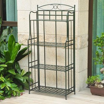 Matte Brown Powder Coated Iron Folding Bakers Rack for Indoor or Outdoor Use