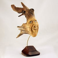 Wood Spirit, Wood Carving, Ooak, Rustic Decor, Handmade, Sculpture, Folk Art, Wood Carving By Mike Berlin