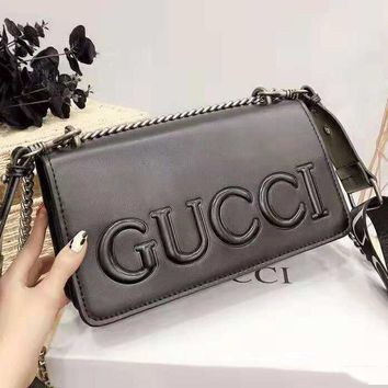 GUCCI High Quality Trending Women Stylish Shopping Leather Metal Chain Handbag Shoulder Bag Crossbody Satchel Black