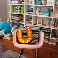 """12"""" Small Letter U Lighted Vintage Marquee Letters (Rustic)"""