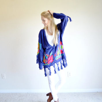 SALE SALE Vintage I.B. Diffusion Funky Cardigan Fiesta Sweater Royal Blue Tassel Outerwear Colorful Funky Retro Cardigan Medium Med M Slouch
