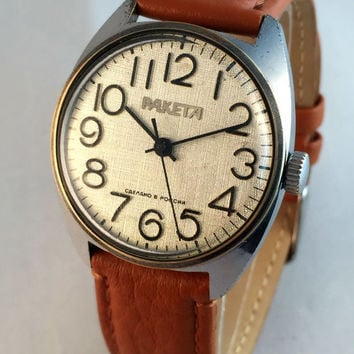 Soviet watch Raketa (Rocket) mechanical watch,great Vintage watch with silver dial. New high quality leather band.