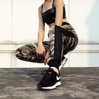 Summer Women Camouflage Gauze Stitching Multicolor Leisure Pants Sweatpants Trousers