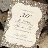 Birthday Invitation, Glitter Birthday Invitation, Sweet 16, 21st Birthday