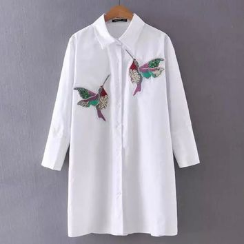 Women Embroidered Hummingbirds Sequins Long Sleeve Blouse Tops Shirt 2017 New Spring Summer Season Clothings