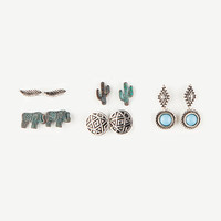 FULL TILT 6 Pairs Elephant/Cactus Earrings | Earrings