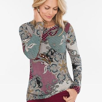 Chico's Paisley Crew-Neck Knit Top