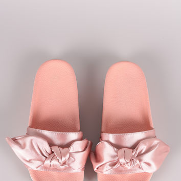 Liliana Satin Bow Open Toe Slide Sandal