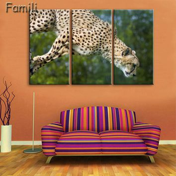 3 Pieces Modern Printed Cheetah Decorative Canvas