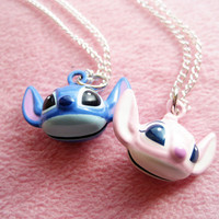 Stitch and Angel Couple Love Necklace. Lover. Disney. Cute. Fashion. Jingle Bell.
