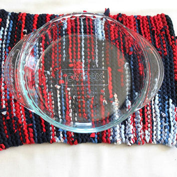 Nautical Trivet Artisan Knitted Red White & Blue Navy Modern Upcycled T Shirts Cottage Chic Cake Pan Size 11 x 15--US Shipping Include