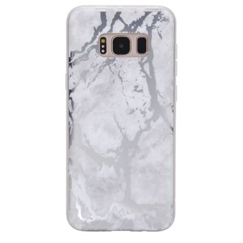 White Marble Silver Chrome Samsung Galaxy Case