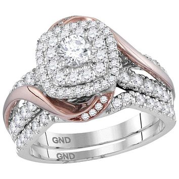 14k White Gold Rose-tone Women's Round Diamond Certified Double Halo Bridal Wedding Ring Band Set 1-1/2 Cttw - FREE Shipping (US/CAN)