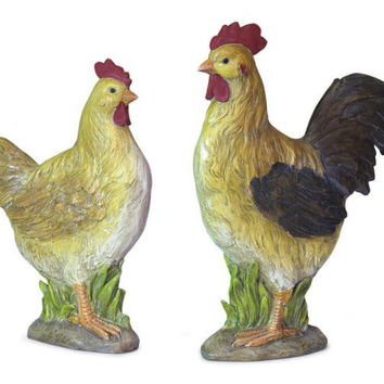 2 Chicken Figures - Rooster And Hen