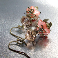 Guava Blossom  Mauve Pink and Peach Glass by IslandGirlDesigns