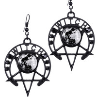 Pentagram Moon Occult Witch Moon Gothic Black Earrings