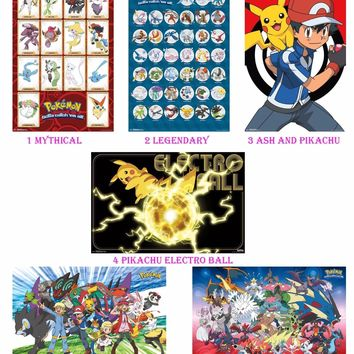 "Pokemon Poster Print 22x34"" Decor Pikachu, Ash, Evolution, Mythical, Legendary"