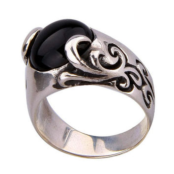 .925 Silver Thailand Standard Black Onyx Stone Handsome Ring for Men's Jewelry-Size 10
