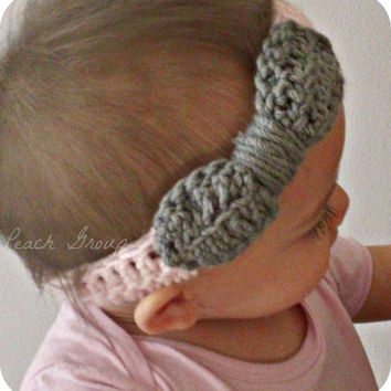 SALE Newborn Baby Headband, Crochet Baby Headband, Baby Girl crocheted ear warmer, Crochet headband with bow.SALE