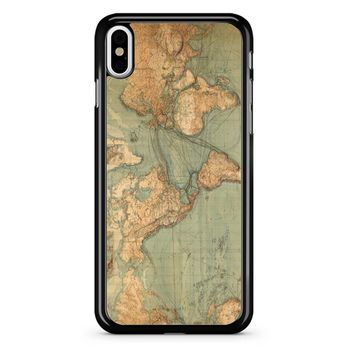 Vintage World Map iPhone X Case