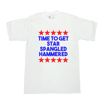 America T Shirt Time To Get Star Spangled Hammered Shirt July 4th Shirt Memorial Day TShirt Fourth of July USA America Unisex Tee - SA224
