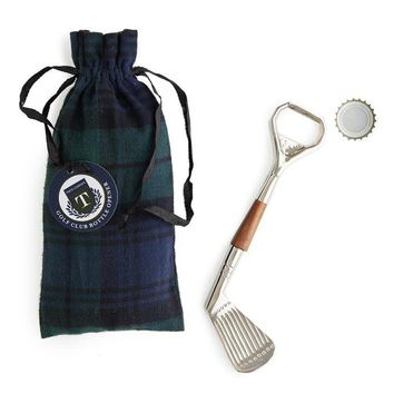 Golf Club Bottle Opener in Plaid Pouch