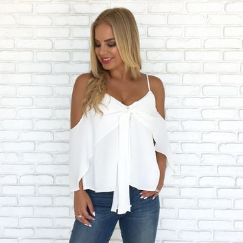 Love Life Cold Shoulder Blouse in White