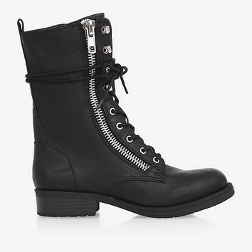 ZIP AND LACE-UP BIKER BOOTS from EXPRESS