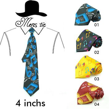 Men Ties Designers Fashion 5 Colorful Big Music Note Neck Ties Polyester Woven Classic  Men's Party Wedding Neckties Gravata