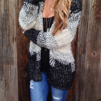 Fuzzy Colorblock Cardigan