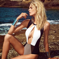 Sexy Hollow Out Backless Patchwork One Piece Beach Swimwear