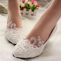 Lovely Pearl Flower Wedding Lace Platfrom Bridesmaid Flat heel shoe