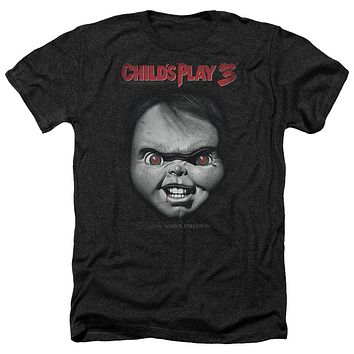 Childs Play Heather T-Shirt Chucky Look Whos Stalking Black Tee