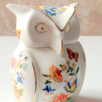 Aynsley Owl Trinket Box // Vintage Aynsley Owl Fine Bone China Trinket Box // Fine Bone China // Own Trinket Box // Aynsley Owl
