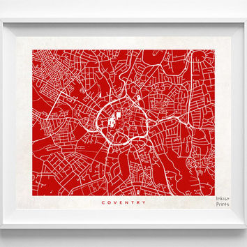 Coventry Print, England Print, Coventry Poster, England Poster, Street Art, Wall Decor, Wedding Gift, Office Decor, Kid Art, Halloween Decor