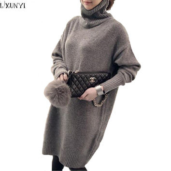 Korean Sweater Dresses For Women Oversized Sweaters ladies  Autumn Winter Long Sleeve loose Thicken Turtleneck Sweater Knitted