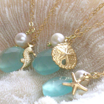 Bridesmaid Gift Set, 3 Starfish Necklaces, Chalcedony, Pearl, Sand Dollar, Starfish, Seahorse Charms, Gold fill, Beach wedding, Seashells