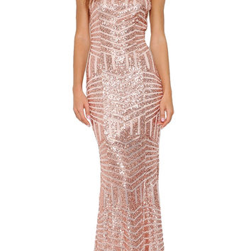 Leading Lady Open Back Sequin Maxi Dress - Rose Gold RESTOCKED!