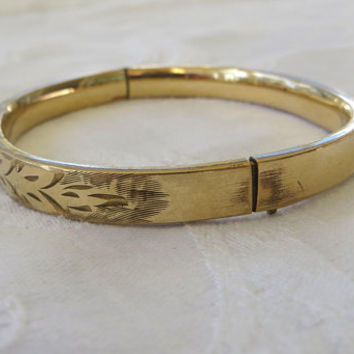 Antique Bangle Bracelet, Gold Filled, Art Nouveau Etching, Antique Jewelry, Vintage Gold Filled Jewelry