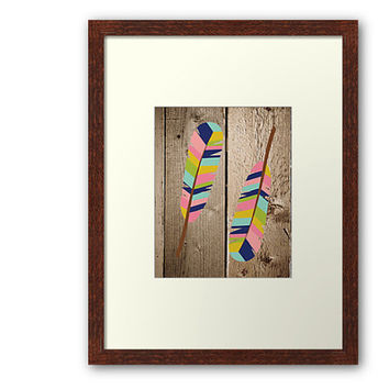 Feather Art Print, Tribal, Rustic Home Decor