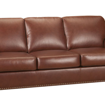 Woodland Leather Sleeper Sofa Queen Bed with Pocket-Coils