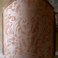Venetian Lamp Shade in Fortuny Fabric Sevigne Warm French Brown & Gold Pattern Half Lampshade - Handmade in Italy