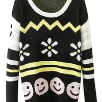 ROMWE   Snow and Smile Knitted Striped Jumper, The Latest Street Fashion