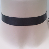Classic Plain BLACK 16mm Satin Ribbon Choker Necklace - fg... or choose another colour, custom made :)