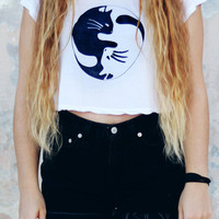 Cat Yin Yang Crop Top Brandy Melville Tumblr Hipster