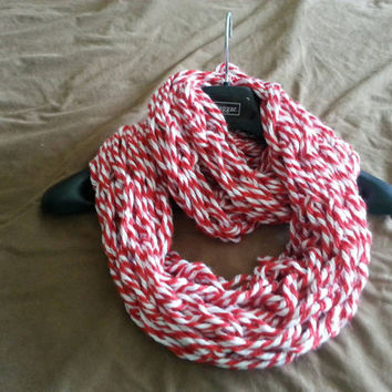 Soft and warm red and white Arm-Knitted Infinity scarf- Bulky Scarf - red and white Team Spirit Scarf - Infinity scarf college football