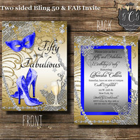 Fifty and Fabulous Party Invitation, 50 and Fabulous Invitations, Fiftieth Birthday Invitation, bling Birthday, Gold Royal Blue, Adult bday