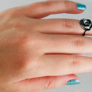 Ring Mid Knuckle Black and Silver  Aluminum Rose