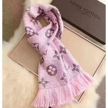 DCCKB62 LV Louis vuitton gold silk women trend exquisite knitting wool scarf shawl special cabinet F-XLL-WJ light pink